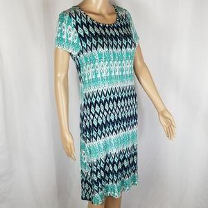 U-Knit   Turquoise Diamond Print Light Midi Dress